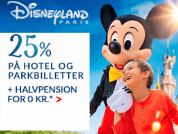 0 kr. for halvpension + 25% rabat hos Disneyland Paris