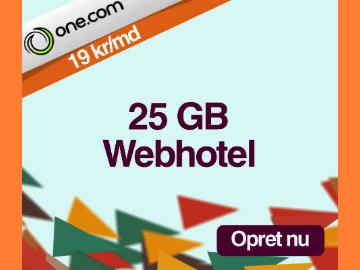19 kr./md for webhotel hos One.com